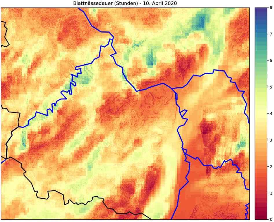 VineForecasts Kartenmodell zur Blattnässe in Weinbergen