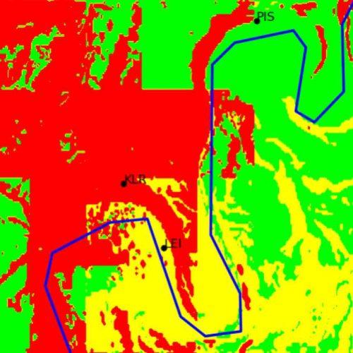 Infektionskarte von Falschen Mehltau an der Mosel